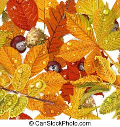 castagna, modello, foglie, seamless, autunno, suolo