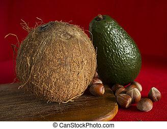 castagna, noce di cocco, avocado