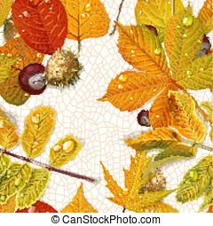 castagna, permesso, filo, modello, foglie, seamless, autunno, fondo