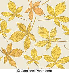 castanha, padrão, folhas, seamless
