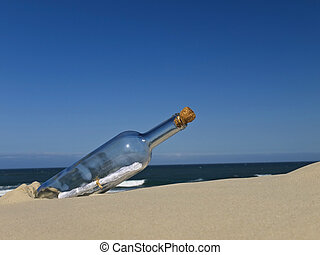 Castaway - A bottle with a message inside is buried on the...