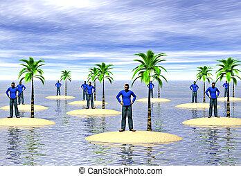 Castaways - A group of men on desert islands. Image...