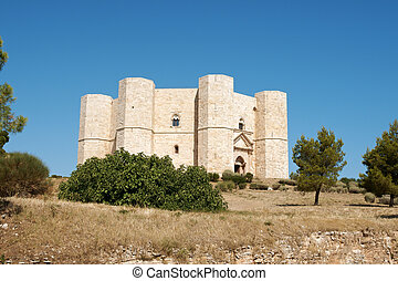 Castel del Monte (Castle of the Mount) is situated on a solitary hill, in the southeast italian region of Apulia, near Andria in the province of Bari. It was built in the 13th century during the reign of the Holy Roman Emperor Frederick II. The castle is an octagonal prism with an octagonal bastion ...