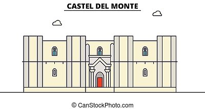 Castel Del Monte line travel landmark, skyline, vector...