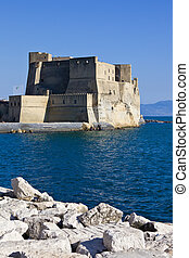 Beautiful view of famous fort Castel dell' Ovo in Naples, Italy,