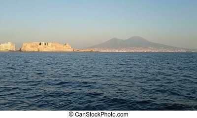 Castel dell'Ovo seen from the sea - View from the sea of...