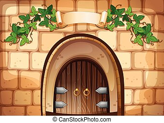 Castel door with vine over it illustration