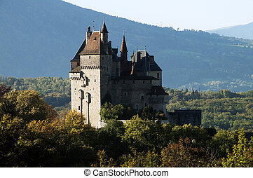 Medieval Castel of Menthon, near Annecy, in France in autumn