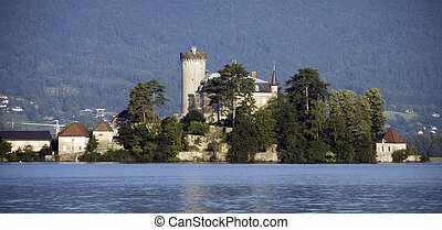 Castel on lake Annecy - Castel of Duingt, at Annecy lake,...