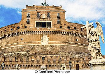Castel Ponte Sant Angelo Vatican Castle Bernini Angel Rome Italy