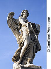 Angel Statue outside the entrance to Castel Sant'Angelo in Rome, Italy.