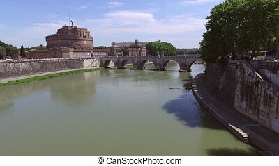 Castel Sant angelo fortress, bridge, view in Rome, Italy.
