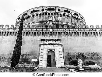 Castel Sant Angelo, or Mausoleum of Hadrian, detailed view. Rome, Italy. Black and white image.