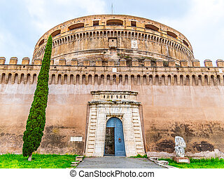Castel Sant Angelo, or Mausoleum of Hadrian, detailed view. Rome, Italy.