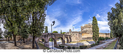 castel sant' Angelo, the castle of the holy angel in Rome, Italy with escape aquaeduct for the pope, Rome, Italy