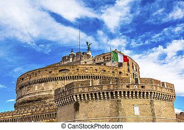 Castel Sant Angelo Vatican Castle Italian Flag Rome Italy