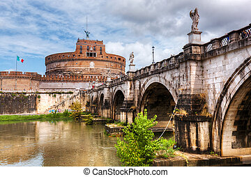 Castel Sant'Angelo, Rome, Italy. View from the other side of the Tiber river and Ponte Sant'Angelo bridge.