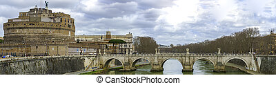 Castel Sant'angelo and Bernini's statue on the bridge, Rome, Italy. Palace of justice on the background.