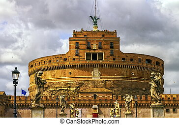 Castel Sant'Angelo or Mausoleum of Hadrian and statues on the bridge by day, Rome, Italy