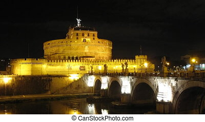 Castel Sant\\\'angelo, Rome - Time lapse in the night