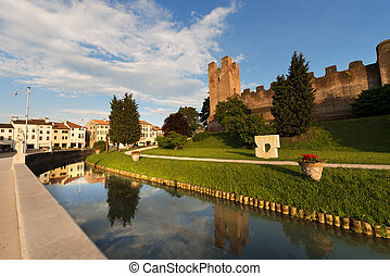 Ancient walls of Castelfranco Veneto, north side (XII-XIII century) in the province of Treviso, north Italy
