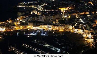 Castellammare del Golfo night sea bay, Sicily, Italy - Night...