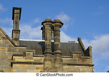castellated roof with chimneys - gable ended roof