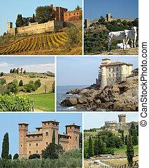 castelli, europa, paesaggio, collage, italia, scenico, toscano