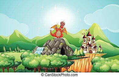 castello, caverna, drago