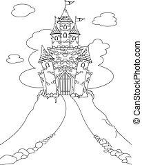castello, coloritura, magia, pagina