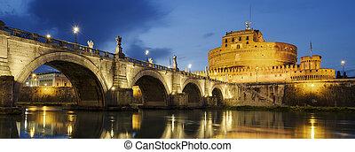 castello, di, santo, angelo, e, santo, angelo, ponte, sopra, il, fiume tiber, in, roma, vicino, night.