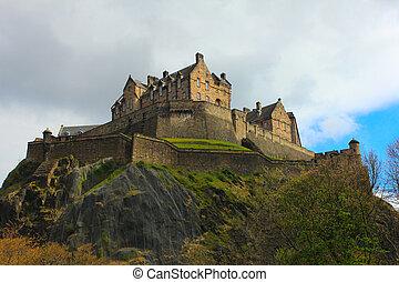 castello edimburgo, roccia, -, posto famoso, in, scozia