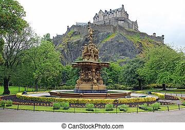castello, edinburgh, strada, regno unito, scozia, fontana, ...