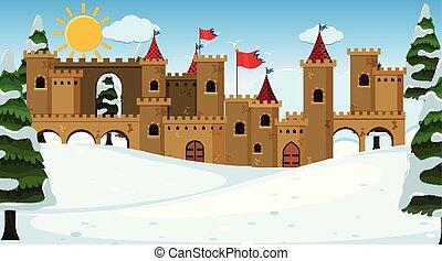 castello, esterno, scena