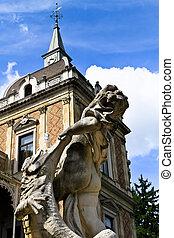 castello, fronte, scultura