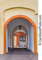 castello, hachenburg, corridoio, entrata