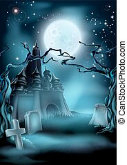 castello, halloween, cimitero, fondo