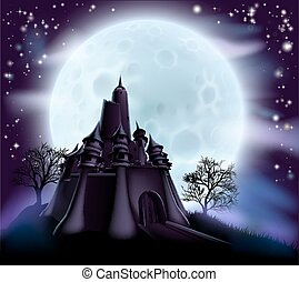 castello, halloween, fondo