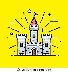 castello, icona, linea, pietra, magico