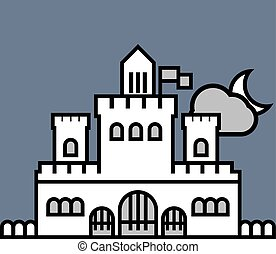 castello, illustrazione, vettore
