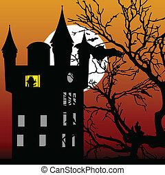castello, in, il, crepuscolo, con, pipistrello