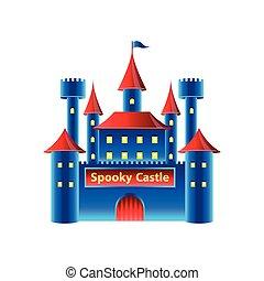 castello, orrore, vettore, isolato, bianco