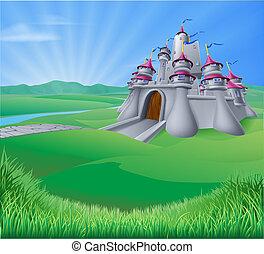 castello, paesaggio, illustrazione