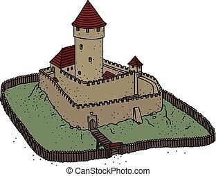 castello, pietra, gotico, vecchio