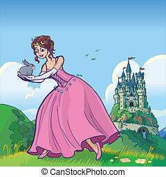 castello, principessa, coniglio, presa a terra