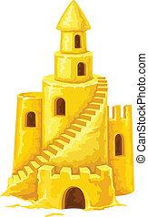 castello sabbia, con, torreggiare, windows, e, scale