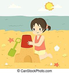 castello, sabbia, felice, cartone animato, fabbricazione, vettore, ragazza