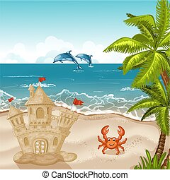 castello, sabbia, spiaggia., granchio, illustrazione