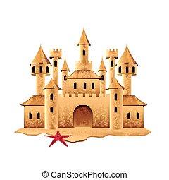 castello, sabbia, vettore, isolato, bianco
