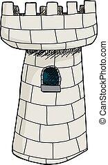 castello, singolo, torre, isolato